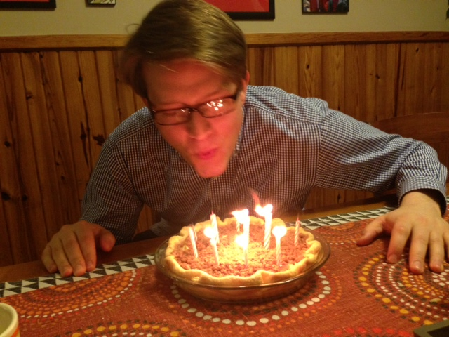 birthday candles in a pie